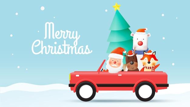 Санта-клаус и банда животных с красивым фоном в бумажном искусстве