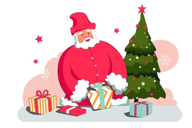 Санта-клаус и подарок рождеством векторные иллюстрации плоский