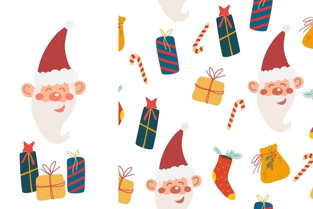 サンタクロースとギフト、キャンディケインのシームレスなパターン。メリークリスマスと新年あけましておめでとうございますの背景。スクラップブッキング、紙、布。ベクトルイラスト。