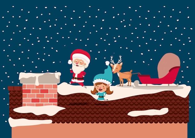 굴뚝에서 산타 클로스와 여자 도우미