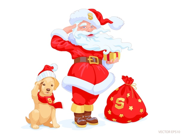 산타 클로스와 골든 리트리버 강아지는 관심과 경례에 서 있습니다. 크리스마스 모자와 빨간색 겨울 스카프를 착용하는 귀여운 작은 개. 손으로 그린 축제 캐릭터는 모든 주문을 따를 준비가되어 있습니다.