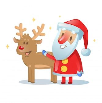 サンタクロースとトナカイの友達が笑っています。漫画のクリスマスカード。図。白で隔離