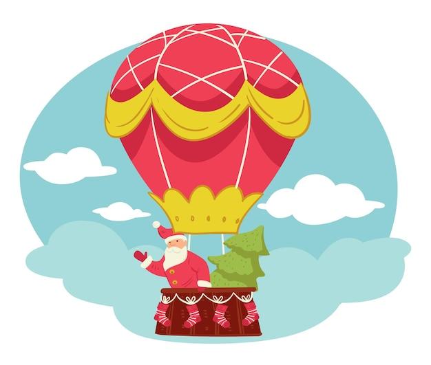 熱気球で飛んでいるサンタクロースと松の木