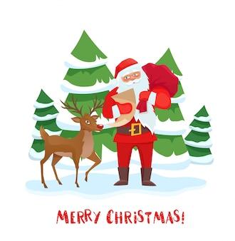 산타 클로스와 순록이 크리스마스 트리.