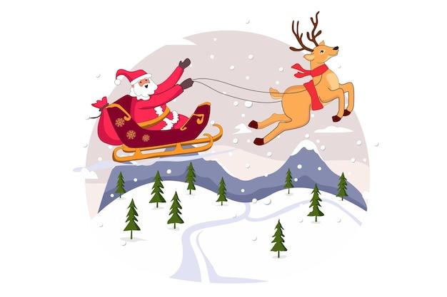 Санта-клаус и северный олень с рождеством вектор плоской иллюстрации