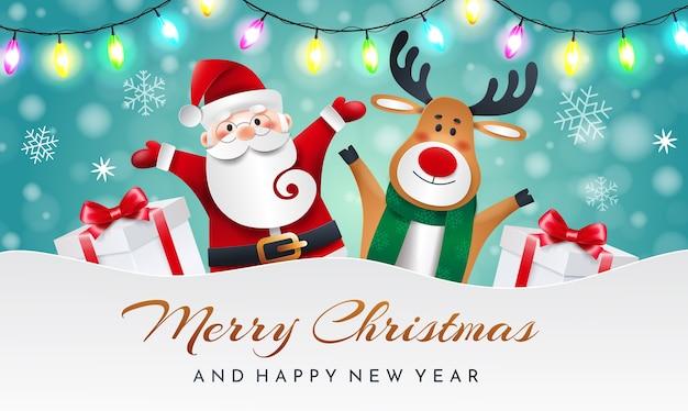 Санта-клаус и северный олень на синем фоне с подарками и гирляндой. поздравительная рождественская открытка.