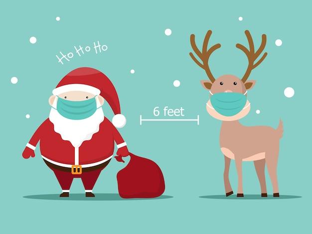 Санта-клаус и олень с хирургической маской, иллюстрация концепции социального дистанцирования