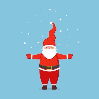 Санта-клаус и снег на синем фоне