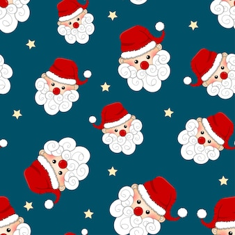 Santa Claus and Star Seamless on Blue Background