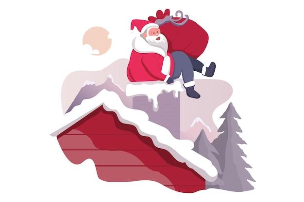 산타 클로스와 굴뚝 메리 크리스마스