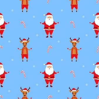 산타 클로스와 사슴. 크리스마스 원활한 패턴
