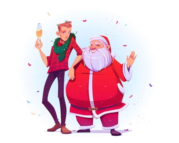 サンタクロースとシャンパンを持った若い男がクリスマスと新年を祝います。
