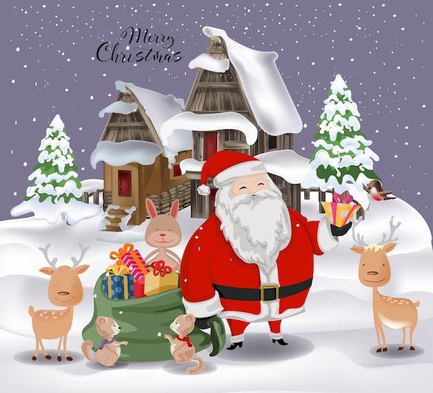 Santa claus and animals family in merry christmas 2019