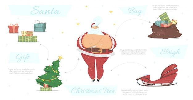 Santa claus attributes collection. xmas new year