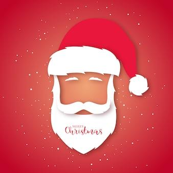 Santa claus avatar. paper art style.