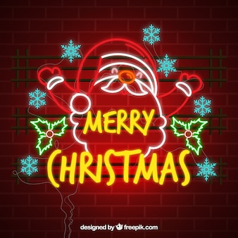 Санта-клаус фон неоновых огней