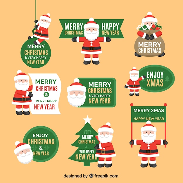 Santa claus badges collection Free Vector