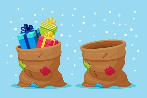 Сумка санта-клауса с подарочной коробкой. рождественский мешок, полный подарков