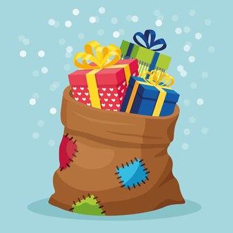 Сумка санта-клауса с подарочной коробкой, изолированные на фоне. рождественский мешок, полный подарков