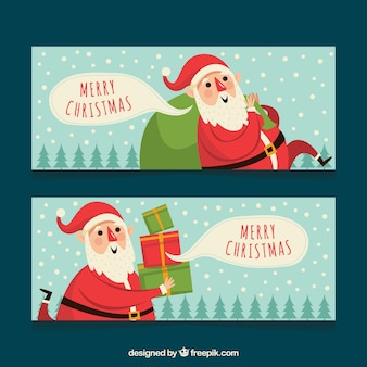 Santa claus banners with gifts