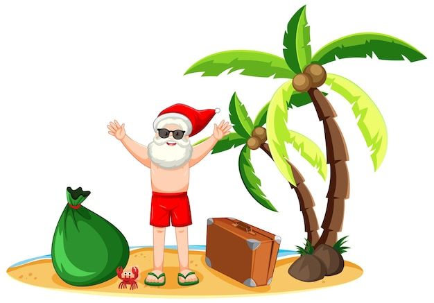 Santa claus on the beach island for summer christmas