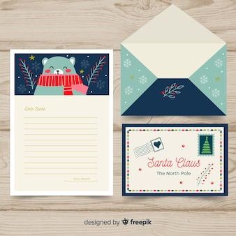 Santa claus bear letter template