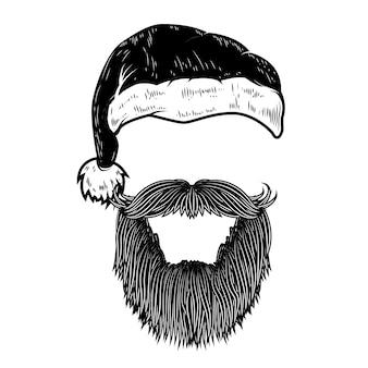 Санта-клаус борода и шляпа. элемент для плаката, баннеров, открыток. иллюстрация