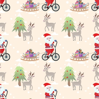 Santa claus on bicycle seamless pattern vector design.