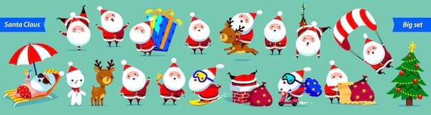 Santa claus big collection. cute cartoon characters with different emotions and christmas elements.