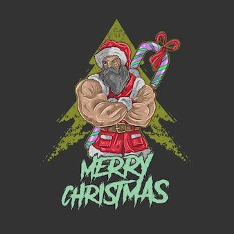 Santa claus big muscle illustration vector