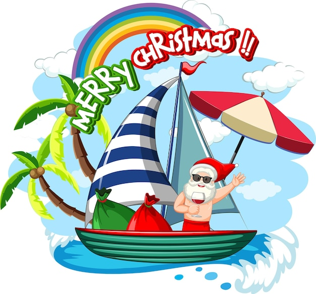 Santa claus on the boat in summer theme