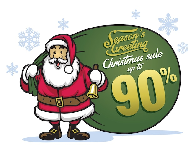 Santa claus bring bunch of sale items
