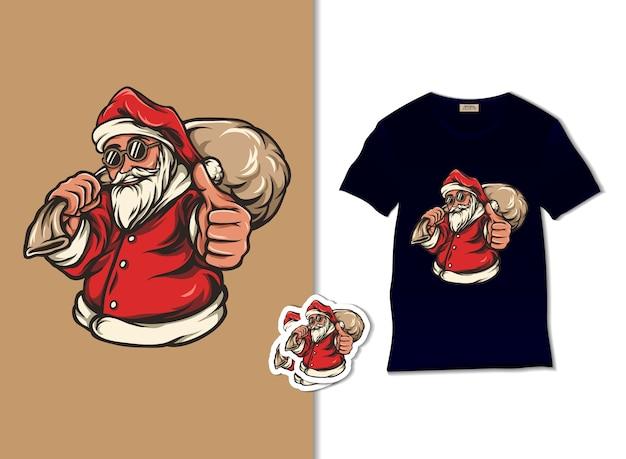 サンタクロースはギフト袋のイラストをもたらします