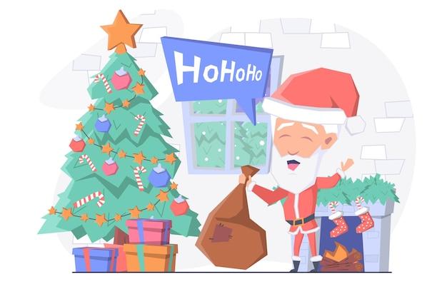 Дед мороз принес мешок с подарками, он стоит у камина и елки.