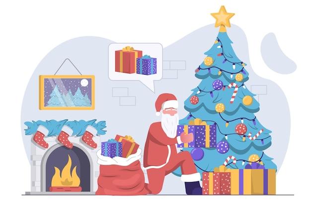 Дед мороз принес подарки в сумке и положил их под елку с камином.