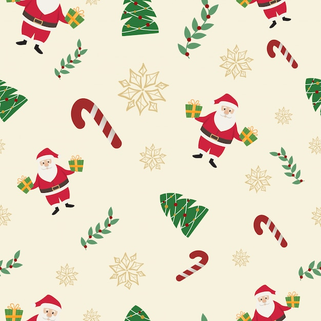 The santa claus and candy cane christmas seamless pattern