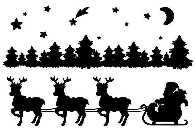 Дед мороз несет рождественские подарки на оленьих упряжках черный силуэт зимний лес