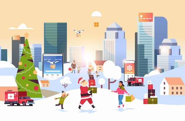 Santa claus carrying gift boxes people with shopping bags walking outdoor preparing for christmas new year holidays men women using online mobile application winter cityscape background