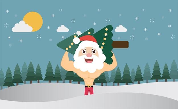 Санта-клаус несет деревья в сосновом лесу