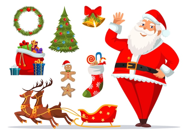Santa claus cartoon character and christmas holiday accessories, xmas tree, festive food, wreath, bells, sleigh with reindeers, bag and stocking with gifts