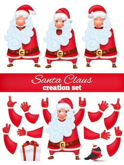 Santa claus cartoon character creation diy set. collection of various emotions and gestures.
