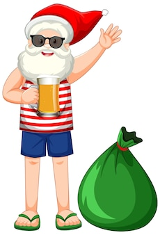大きなプレゼントバッグと夏の衣装でサンタクロースの漫画のキャラクター