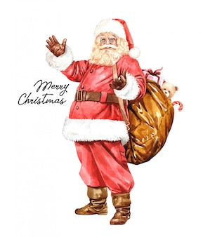 Santa claus cartoon character watercolor.