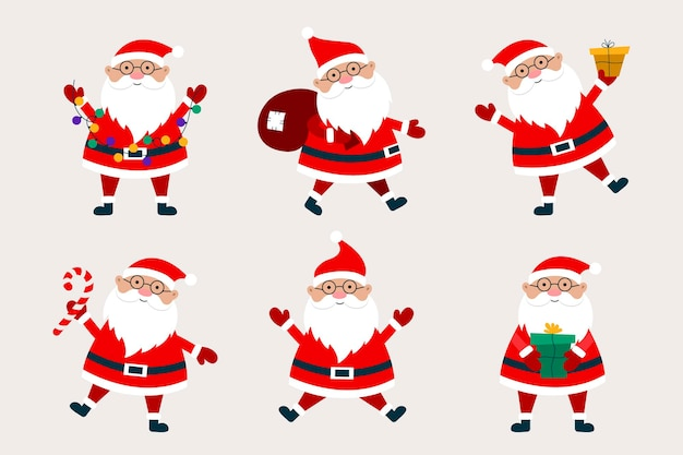 Santa claus cartoon collection with gifts, bag, candy cane, and garland.