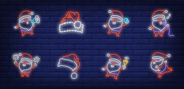 Santa claus celebrating christmas symbols set in neon style