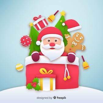 Santa claus celebration background paper style