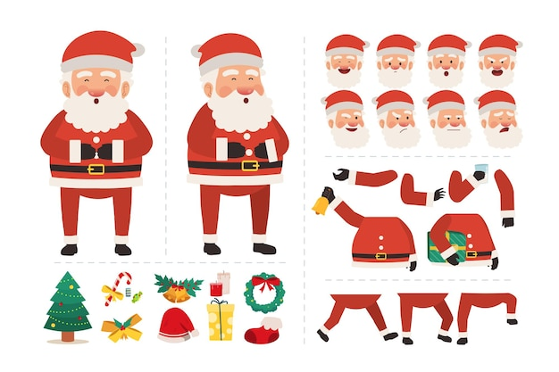 Santa claus character for animation design with various facial expressions