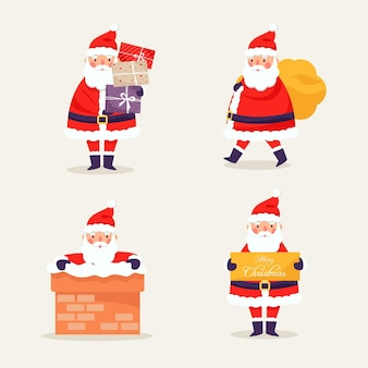 Santa claus character collection in flat design