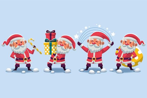평면 디자인의 산타 클로스 캐릭터 컬렉션