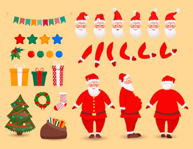 Santa claus character creation set. bended hands, legs. white mustache, beard. boxes with presents. emotions, gestures. front, back, side view of santa. vector